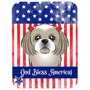 Carolines Treasures BB2180LCB God Bless American Flag with Gray Silver Shih Tzu Glass Cutting Board, Large