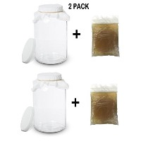 2pack- Scoby with 1ガロンガラスKombucha Jar–ホーム醸造とFermentingキットwith Cheeseclothフィルタ、ゴムバンド、プラスチック蓋–by...