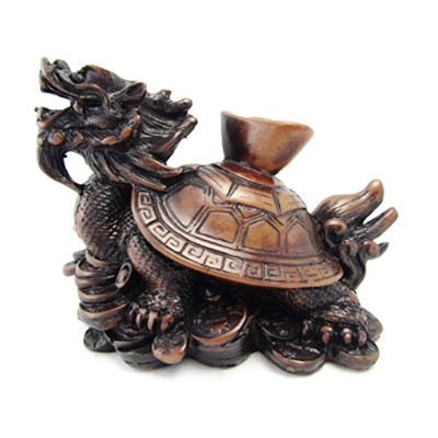 Feng Shui Turtle Dragon Statueコイン樹脂彫刻置物ブラウン5 ""