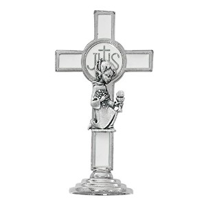 My First Communion Silver Toned and Enameled Standing Cross with Praying子、3 1 / 4インチ ホワイト