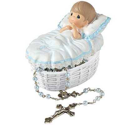 Precious Moments、洗礼ギフト、Baptizedで彼の名前樹脂ボックスwithロザリオ、for Boy, 153407by Precious Moments