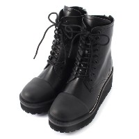 RUBBER TOE LACE UP BOOTS【マウジー/MOUSSY レディス ショートブーツ BLK ルミネ LUMINE】