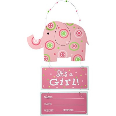 Elephant Wooden Wall Hanging Pink It's a Girl! with Birth Statistics by Burton & Burton