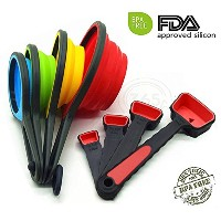 Measuring Cups and Measuring Spoonsセット、kaptron ( TM ) Collapsible Measuring Cups、8ピースシリコンキッチンでのセット刻印...