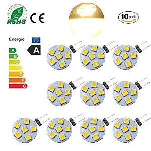 Ei-Home 10 Pack High Bright Side Pin G4 LED Bumb, DC 12V LED Light Bulb for Reading, Car, Marine,...