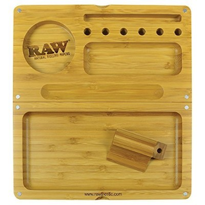 RAW Backflip Bamboo Magnet Rolling Tray by RAW