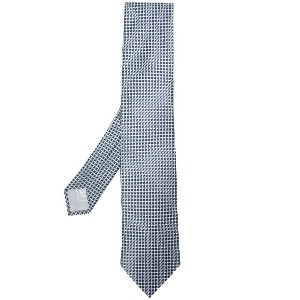 Brioni patterned woven tie - ブルー