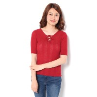 2WAY LACE UP SHEER TOP【マウジー/MOUSSY レディス Tシャツ・カットソー RED ルミネ LUMINE】