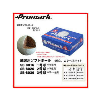 PROMARK・プロマーク 練習用ソフトボール 1号球 小学生用 6球入 SB-8016 85mm(ソフトボール ソフト ソフト用 練習球 部活 )