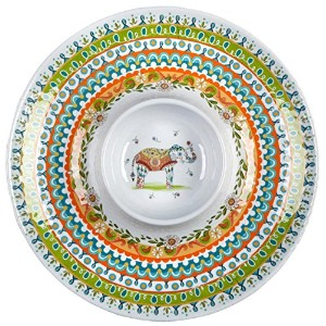 "Maharaja Medallion ElephantメラミンChip and Dip Platter , 15 "" L x 15 "" W x 1.75 "" H ( 11-oz。容量)"