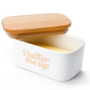 SWEESEバターディッシュ–磁器Keeper with Airtightコルク蓋、ホワイト ホワイト Butter dish - gold