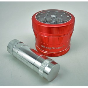 """Sharpstone v2クリアトップ2.5""""レッドGrinder with a Cali Crusher花粉押し"""