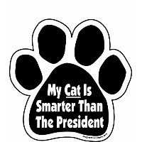 High quality My Cat is Smarter Than the President Paw Car Magnet, 5-1/2-Inch by 5-1/2-Inch