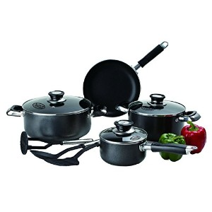 ImperialホームNonstick Cookwareセット–10pcブラックPots and PansセットPTFE and PFOAセーフPots Pans Set