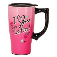 Spoontiques I Love You a Latte Travel Mug ,ピンク