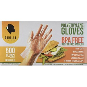 1000 BPA Free Disposable Poly PE Gloves Medium, Food Grade, 2 Pack of 500 by GorillaSupply