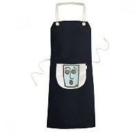 Dizzy Abstract Face Sketch Emoticons Online Chat Cooking Kitchen Black Bib Aprons With Pocket for...