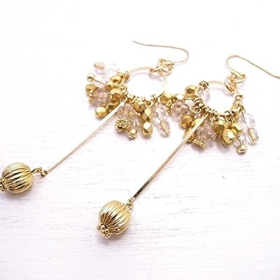 メモリスタジオ[MEMORI STUDIO] [ DEW SERIES #001 ] Circle with a drop pierced earring / Clear x Gold de-86...