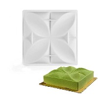 New Arrival White Silicone Clover Geometric Cake Mold Baking Pan Chocolate Mousse Bakeware...