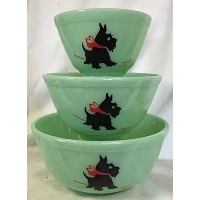 Mixing Nesting Bowls Set of 3–アメリカ製–Mosser–JadeガラスW /レッドBow Scottie Dogs