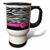 InspirationzStore Monograms – レターMモノグラムブラックand White Zebra Stripes Animal Print withホットピンクPersonaliz...