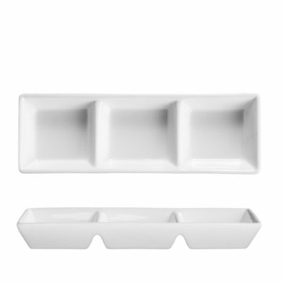 Fortessa Fortaluxe Vitrified China Dinnerware, Rectangular 3-Compartment Dipping Tray, 18cm, Set of...