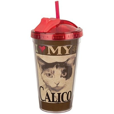 I Love My三毛猫Tumbler with Straw by Spoontiques