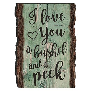I Love You aブッシェルand a PeckスクリプトTeal Rustic Bark Look Wood Signマグネット