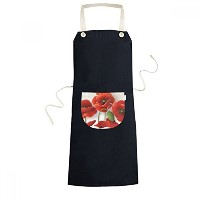 Red Flowers Painting Corn Poppy Petals Fruit Cooking Kitchen Black Bib Aprons With Pocket for Women...