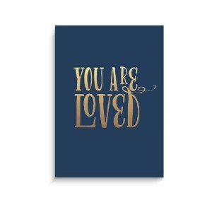 "Lucy Darling Gold You Are Loved Wall Decor, Navy Print, 5"" x 7"" by Lucy Darling LLC [並行輸入品]"