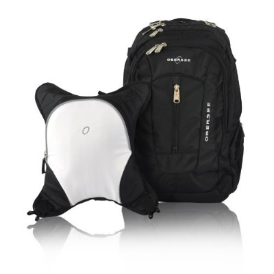 Obersee Bern Diaper Bag Backpack with Detachable Cooler, Black/White by Obersee [並行輸入品]