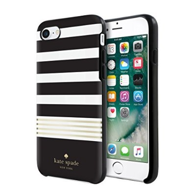 Kate Spade New York iPhone 7 Black White Gold Foil Stripe Phone Case [並行輸入品]