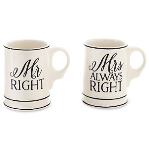 Mud Pie Mr. & Mrs. Mugs Boxed Set, Off White by Mud Pie