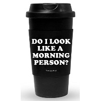 Funny GuyマグカップDo I Look Like A Morning Person Travel Tumbler with Removable断熱シリコンスリーブ、ブラック、473ml