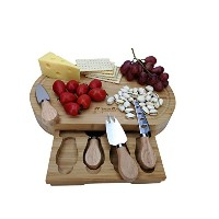 opulic竹チーズボードとナイフセット – 豚肉加工品Wooden Serving Board , Comes Complete With 4チーズナイフin aスライドアウト引き出し...