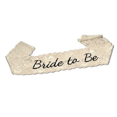 bachelorette bride to be party sash - embroidered white lace - great for bachelorette parties and...