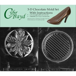 Cybrtrayd c400ab Poinsetta Pourボックス、パーティーのチョコレートキャンディ金型バンドルwith 2Molds and Exclusive Cybrtrayd...