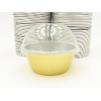 kitchendance使い捨てアルミColored Baking cups- Creme Brulee cups-デザートcups- 4オンスサイズwith Lids Gold w/ High...