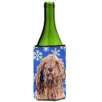 Otterhound Winter Snowflakesワインボトル飲料Insulator Hugger sc9781literk