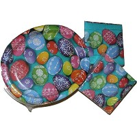 """Bright Easter Egg Paper Plates–Dinner andナプキンパーティーパック–Serves 50–Includes 50( 10"""" x 12"""" ..."""