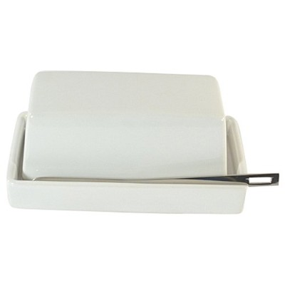 (White) - Bee House 1/2 Stick Butter Dish with Knife