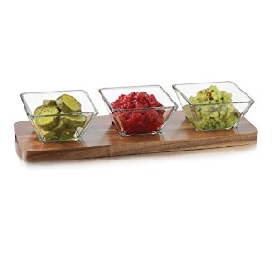 Libbey 4Piece Acacia木製調味料入れセット、クリアby Libbey