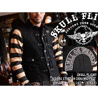 "【SKULL FLIGHT/スカルフライト】ベスト/RIDERS STRETCH DENIM G VEST ""CUSTOM ワッペン付き""(BLACK)★REAL DEAL"