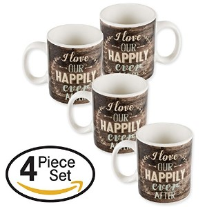 I Love Our Happily Ever After木製Laurel 16オンスのセット4磁器コーヒーマグカップ