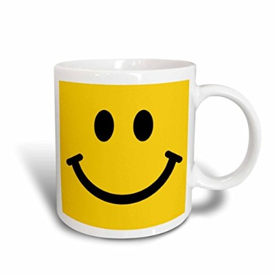 3dRose Yellow smiley face square - happy smiling cartoon - cute smile - 60s sixties jolly cheerful...