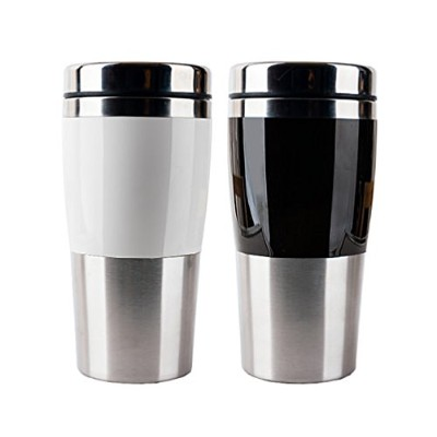 470ml Stainless Steel Vacuum Insulated Tumbler with Lid (Stainless Steel) Black, White