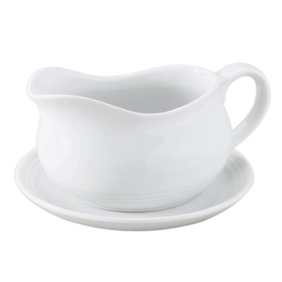 (Hotel Boat with Saucer, 24 oz.) - HIC Hotel Gravy Sauce Boat with Saucer Stand, Fine White...
