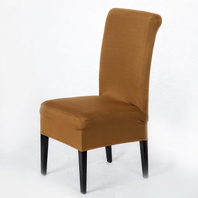 (Light Coffee) - Set of 2 Removable Short Stretch Spandex Dining Chair Slipcovers Protector, Super...