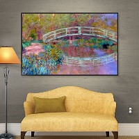 ArtWall Claude Monet 's Japanese BridgeギャラリーWrappedフロータ額入りキャンバス 14x18 0mon020a1418f