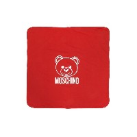 Moschino Kids bear and logo print blanket - レッド